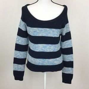 American Eagle Blue White Navy Striped Sweater